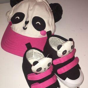 Gymboree panda hat and shoes